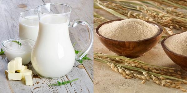 Làm trắng da bằng cám gạo + sữa tươi